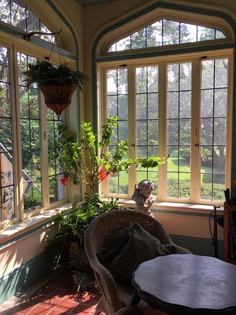 Newark, NY: Beautiful sun room with seating, plants and lovely views.