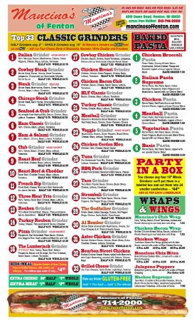 Here are the Baked Grinders and Pasta choices at Mancino's of Fenton.