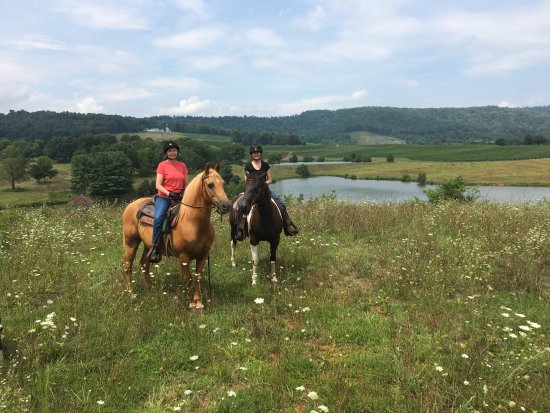 Indian Summer Guide Service - Private Tours: riding two of Ashton's lovely quarter horses at Albemarle Estate