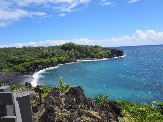 Wailuku, HI: Black sand beach (with lava tube!)