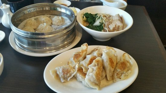 Glendora, CA: front pan fried beef dumplings, left steamed pork dumplings, right pork belly noodles
