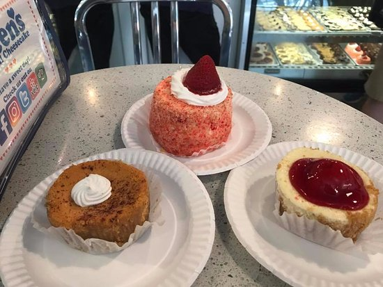 Eileen's Special Cheesecake: pumpkin cheesecake, Strawberry cheesecake and in the bake the strawberry shortcake which is amaz