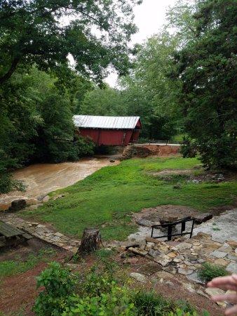 Landrum, SC: Foreground foundation of mill, background bridge