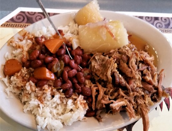 Amsterdam, NY: Shredded pork, yucca, red beans & rice.