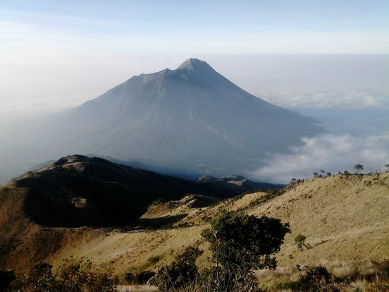 Mount Merbabu National Park: mt. merapi as seen from the top of mt. merbabu