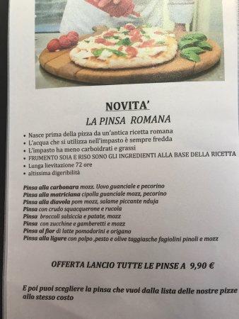 San Vittore Olona, อิตาลี: Menu Pinsa