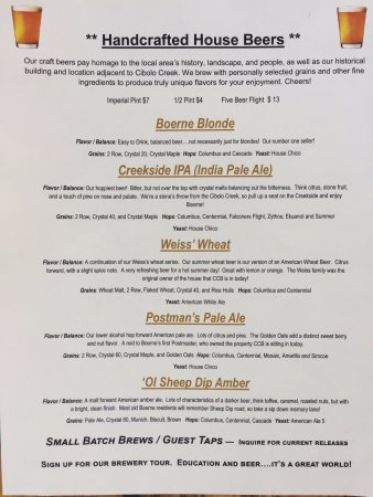 Boerne, TX: Early Summer Beer Menu 2017