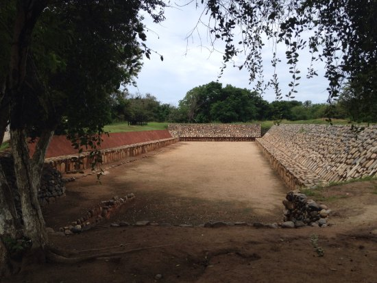 Xihuacan Museum and Archeological Site: Ceremonial ball game arena where the game is played with sticks and balls that are on fire
