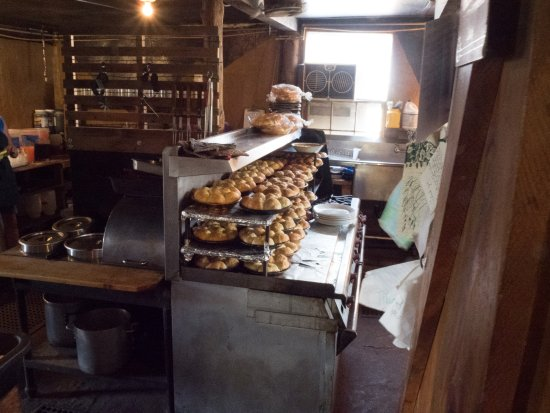 Silver Lake, OR: A view of the kitchen with the warm dinner rolls, hot from the oven.