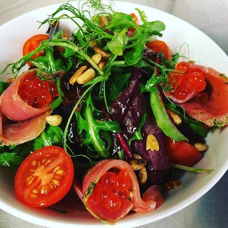 Washford, UK: Cured salmon salad