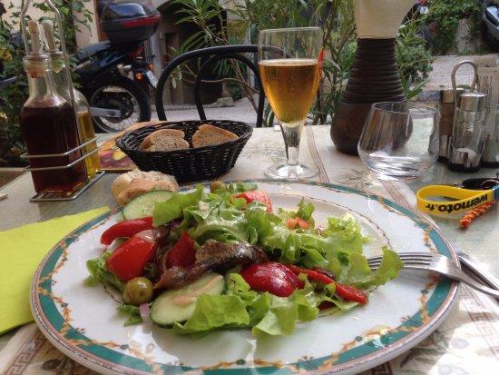 Cucugnan, Fransa: Salade aux anchois de Collioure