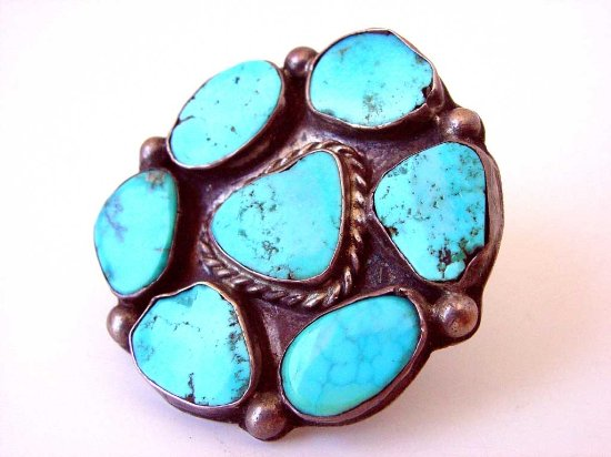 Mancos, CO: Beautiful Morenci Turquoise Ring Circa 1950