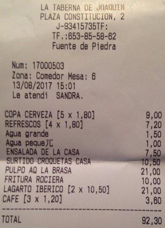 Fuente de Piedra, Španělsko: La cuenta