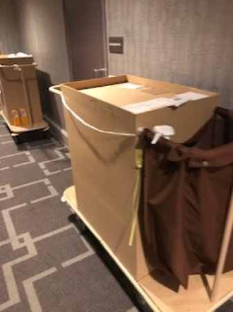 Park Central Hotel New York: cleaning carts are stored in the hallway