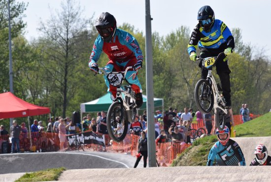 Crewe, UK: North Region BMX 2017 series - The Shanaze Reade BMX track at Tipkinder Park adjacent to Queens