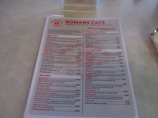 Columbia Heights, MN: Front menu