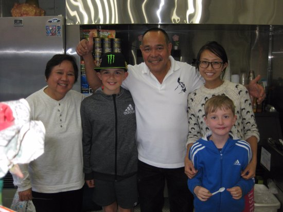 Norman's Ice Cream and Freezes: Our kids with Norman, his wife and niece
