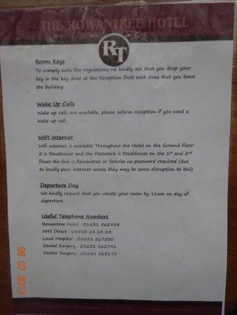 Rowantree Hotel: Room Info