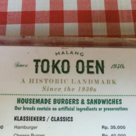 The Menu And The Name Picture Of Toko Oen Malang Tripadvisor