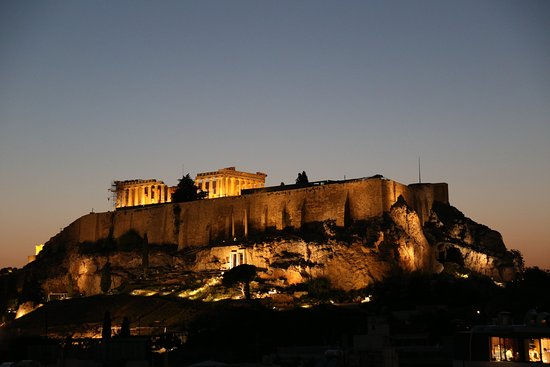 The Athens Gate Hotel: Roof top restaurant view of Acropolis