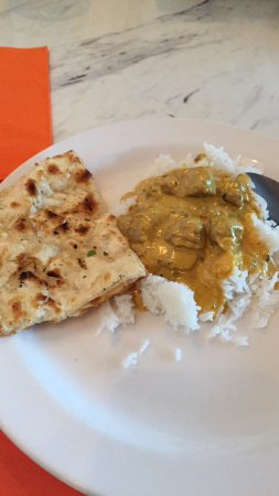 West Des Moines, IA: Lamb Curry and garlic Naan Bread