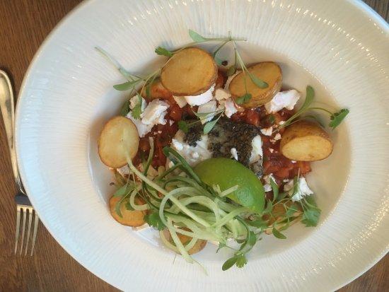 Aldwark, UK: hake, cucumber noodles, stew, roasted potatoes, goats cheese