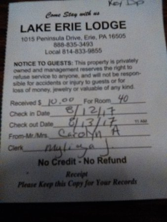 Lake Erie Lodge: No refund policy!