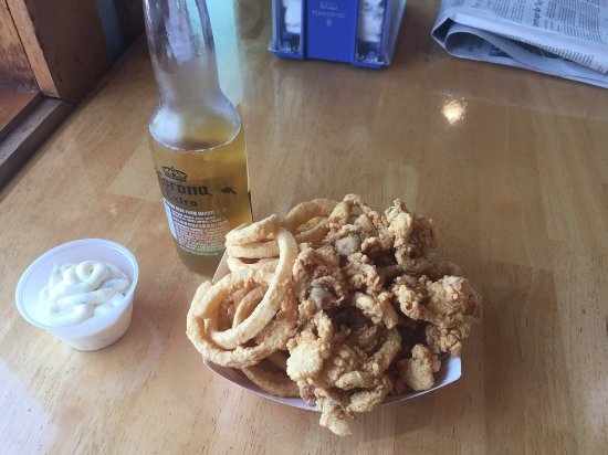 Essex, MA: Clam boat with rings and a Corona