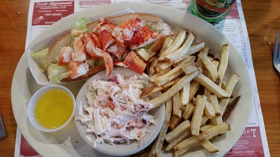 Greenville, ME: Lobster Roll with butter, fries