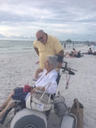 Clearwater Beach: Beach strollers for elderly and handicapped...now they can get down to the water's edge!