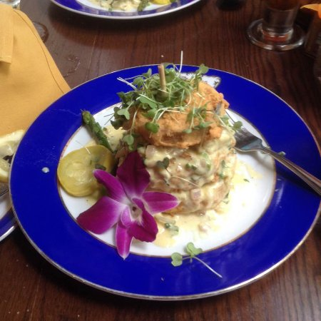 Darrow, LA: Eggplant Napoleon Crispy fried medallions of eggplant, layered with jumbo-lump crabmeat in a saf