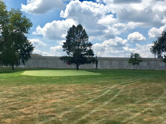 Pendleton, IN: Fall Creek Gold Club looking across Green 11 at the prison