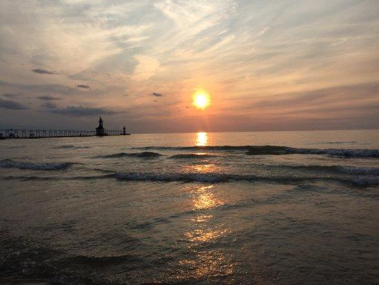 Saint Joseph, MI: sunset at the St. Joseph lighthouse