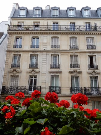Hotel d'Aubusson: This is from Room 202 and the geraniums are from the window box right outside our room.