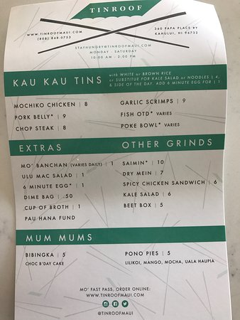 Tin Roof Kahului Menu Prices Amp Restaurant Reviews
