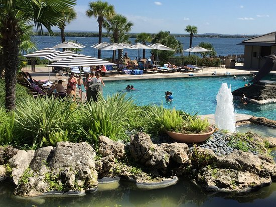 Horseshoe Bay, TX: Beautiful yacht club pool with Lake LBJ in the background