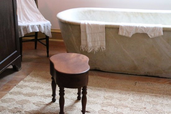 Destrehan Plantation: No indoor plumbing. The beautiful stool is a bidet.