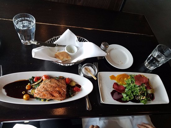Kirkland, WA: Salmon on field greens, and Beet salad. Yummy!