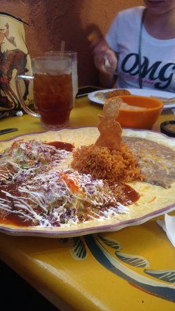 Benson, AZ: Shredded beef enchiladas.  Finished with a Cowboy cinnamon and sugar tortilla