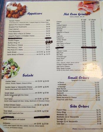 Pizza Parlor Restaurant: Menu