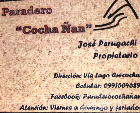 Laguna Cuicocha, Ecuador: If you'd like call ahead!