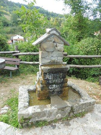 Cantagallo, Italia: fontana nella piazzetta immersa nel verde