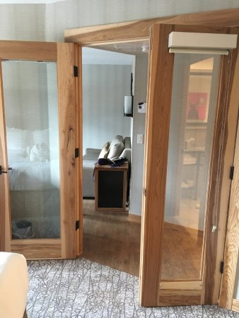 Double doors dividing bedroom from living room - Picture of Moose ...