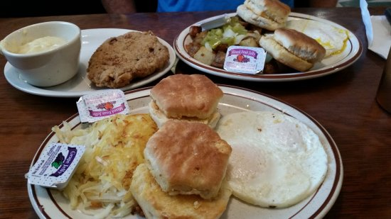 Crescent, IA: hashbrown, eggs and biscuits.