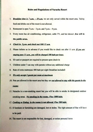 Naracha Resort Make Sure You Read The Rules And Regulations Of Rooms Check
