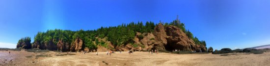Panoramic of Hopewell Rocks from the shoreline