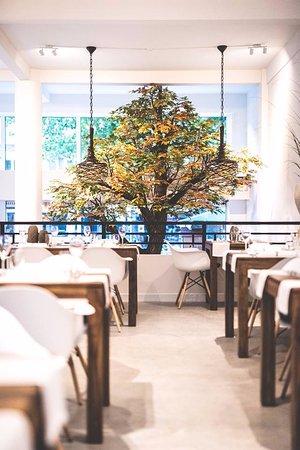 Interieur, met een echte boom in het restaurant - Foto van ...