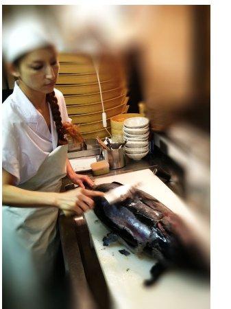 目黒区, 東京都, cutting bonito fish