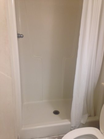 InTown Suites Dothan: Plastic shower stall - you just cannot see how dirty the walls were in thi pic
