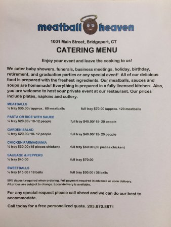 Bridgeport, CT: catering menu